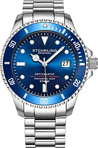 "Mens Swiss Automatic Stainless Steel Professional""DEPTHMASTER"" Dive Watch"