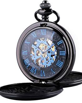 Mechanical Roman Numerals Dial Skeleton Pocket Watch