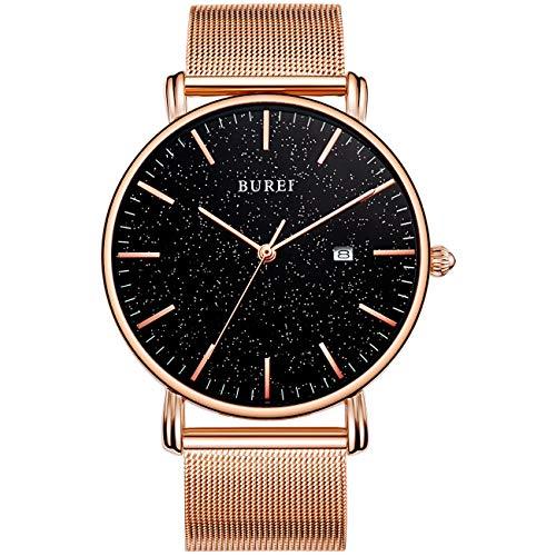 BUREI Men's Fashion Minimalist Wrist Watch Analog Date