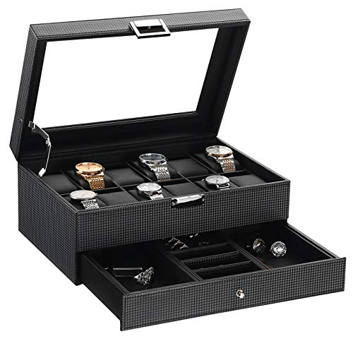 BEWISHOME Watch Box Organizer with Valet Drawer