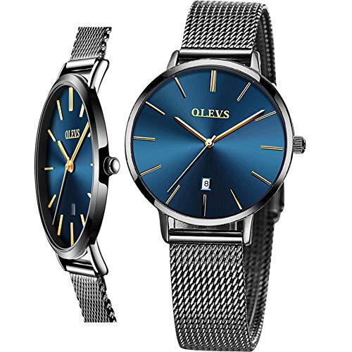 Water Resistant Blue Dial Steel Mesh Band Wrist Watch