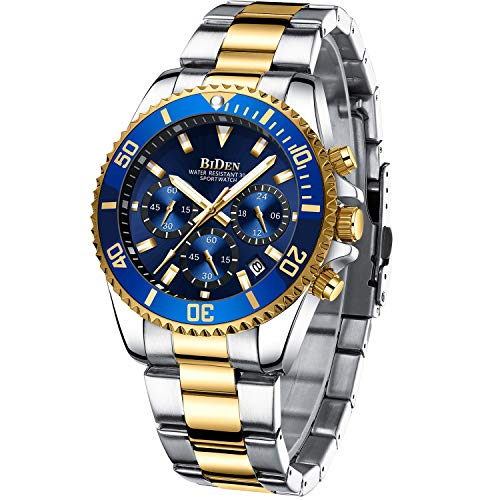 Mens Watches Chronograph Gold Blue Stainless Steel Waterproof