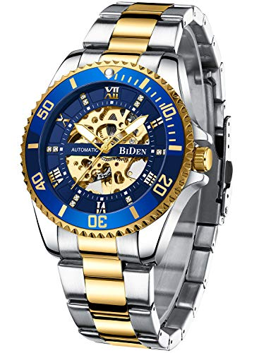 Mens Watches Mechanical Automatic Self-Winding Stainless Steel Skeleton