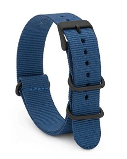 NATO Style Watch Band 20mm Blue Woven