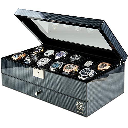 Watch Box Organizer with Glass Display and Lock