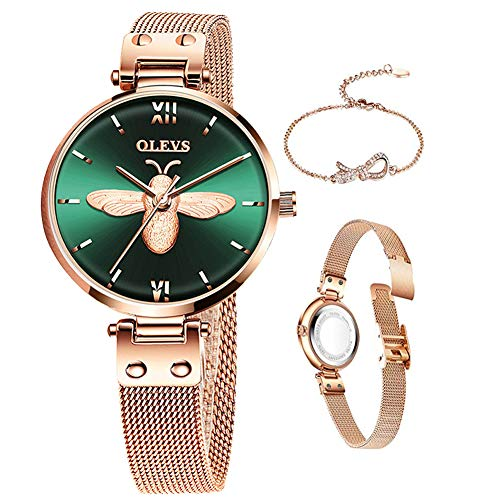 Rose Gold Watch for Lady Steel Mesh