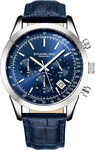 Original Mens Watches Chronograph Analog Blue Watch Dial with Date