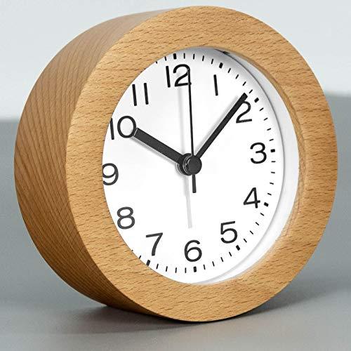 Round Wooden Alarm Clock with Arabic Numerals