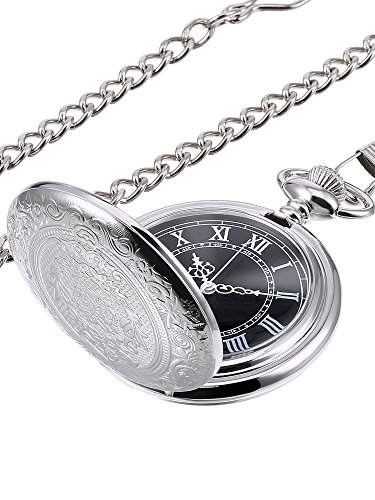 Black Dial Quartz Pocket Watch for Men