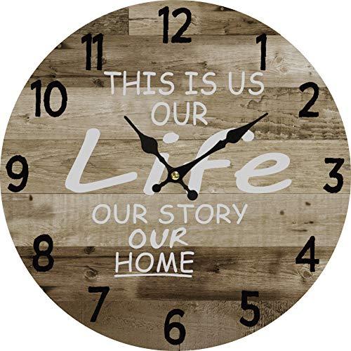 Round Wall Clock Rustic Decoration Retro Design Quartz