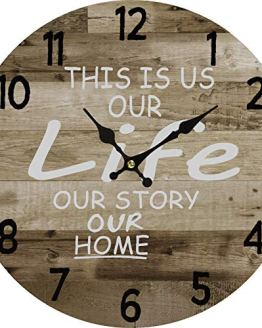 Round Wall Clock Rustic Decoration Retro Design Quartz