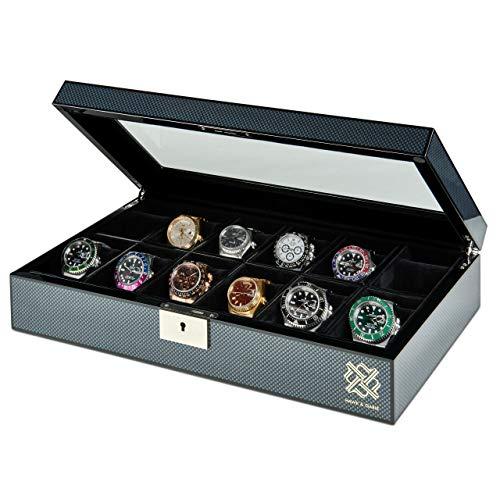 12 Slot Watch Box Organizer with Lock Display Case