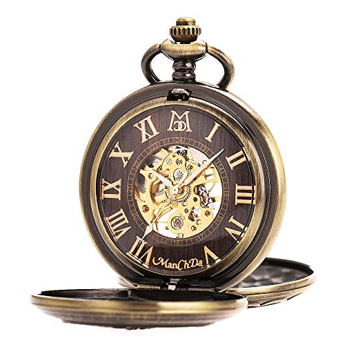 ManChDa Antique Men Pocket Watch Double Hunter Automatic