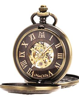 ManChDa Antique Men Pocket Watch Double Hunter Automatic