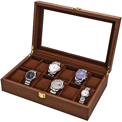 LOSKORIN Watch Box, Executive 12 Slots Watch Case with Valet