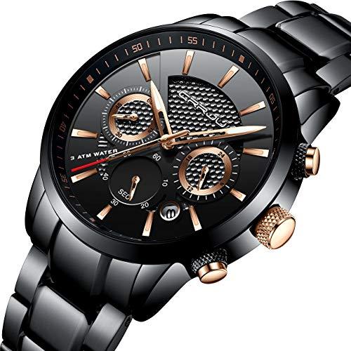 Waterproof Chronograph Wrist Watch Black Strap Sport