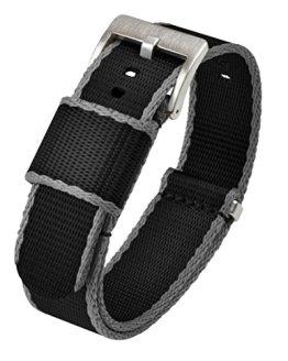 NATO Style Watch Strap 20mm Black Grey Edges