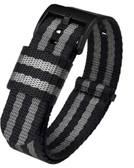 24mm Black Grey NATO Style Watch Strap - Black Buckle