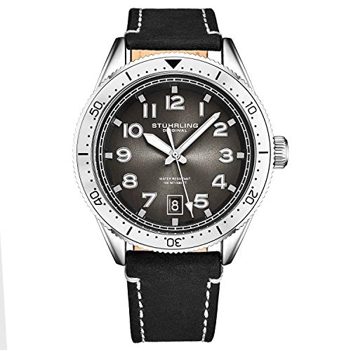 Stuhrling Original Mens Watch -Black Leather Dress Watches