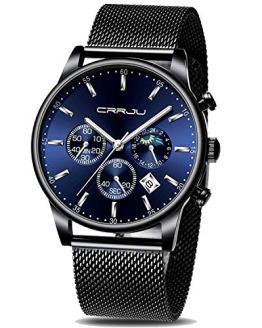 CRRJU Quartz Watch for Men,Style Auto Date Window
