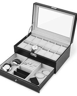 Watch Box, 12 Slots PU Leather Case Organizer