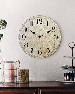 Living Room Rustic Quiet Wood Map Clock