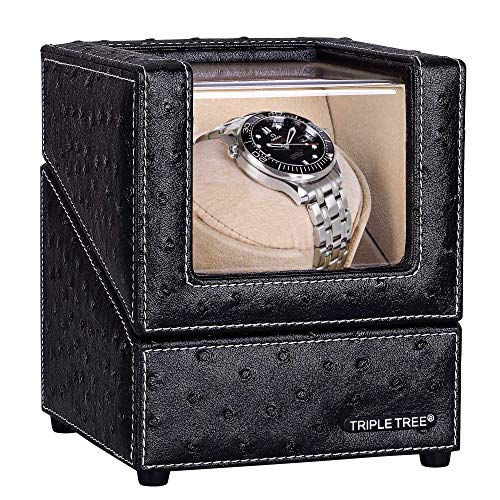 Single Watch Winder Flexible Plush Pillow, in Wood Shell and Black Leather