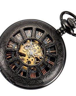 SIBOSUN Skeleton Pocket Watch Special 12-Little-Window Case