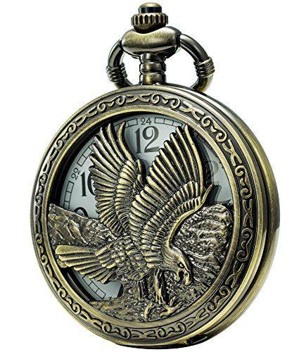 SEWOR Retro Quartz Pocket Watch White Dial Bronze Case
