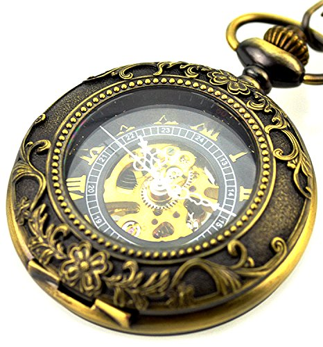 Skeleton Mechanical Copper Retro Pendant Pocket Watch