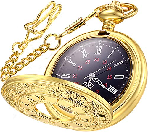 Vintage Pocket Watch Roman Numerals with Chain