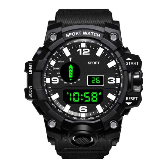 Mens Digital Sports Watches LED Screen Large Face