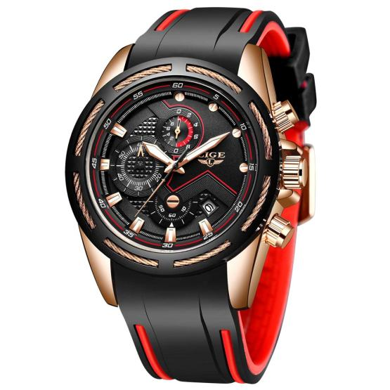 LIGE Men's Watch Fashion Waterproof Analog Quartz Watch Men