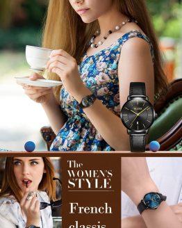 Ultra thin Leather Couple Wristwatch