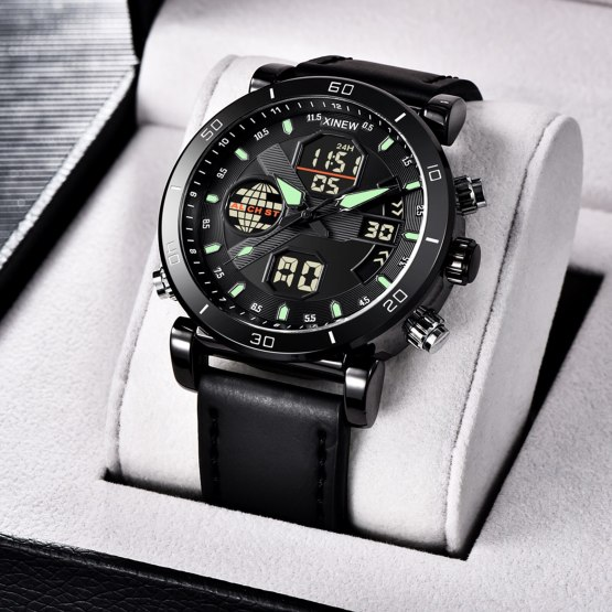 Digital Led Casual Watches Men's Leather Sports