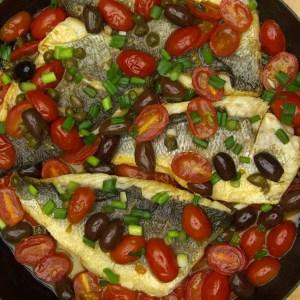 Branzino with Tomato Olive Sauce Step 4