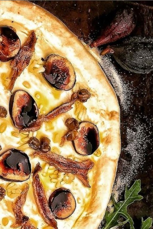 If you love anchovy pizza, this one is for you.  The nutty pecorino crusted pizza crust and sweet ripe figs offers the perfect contrast to salty anchovies.
