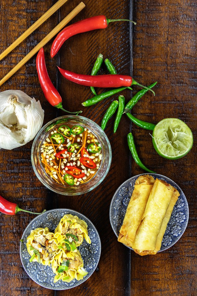 Nuoc Cham Vietnamese Fish Dipping Sauce with Spring Rolls and Dumplings