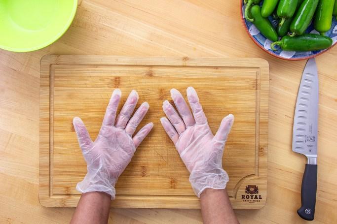 Wear disposable gloves while handling jalapenos