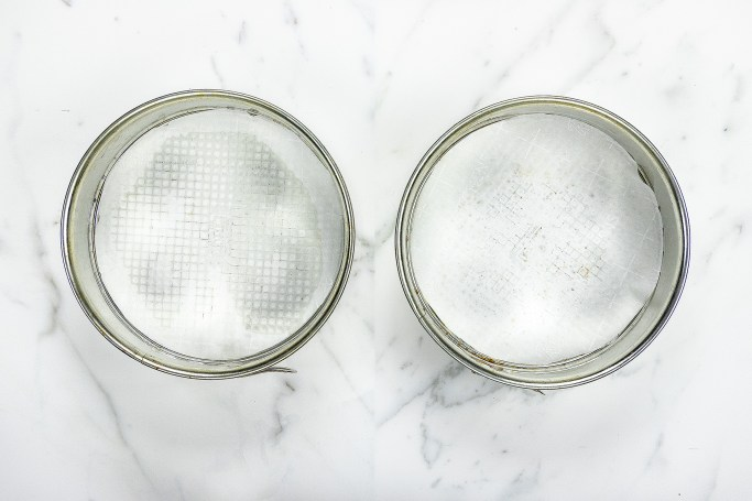 Line the cake pans