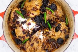 Biryani chicken with dried fruits, powdered milk and green chilis