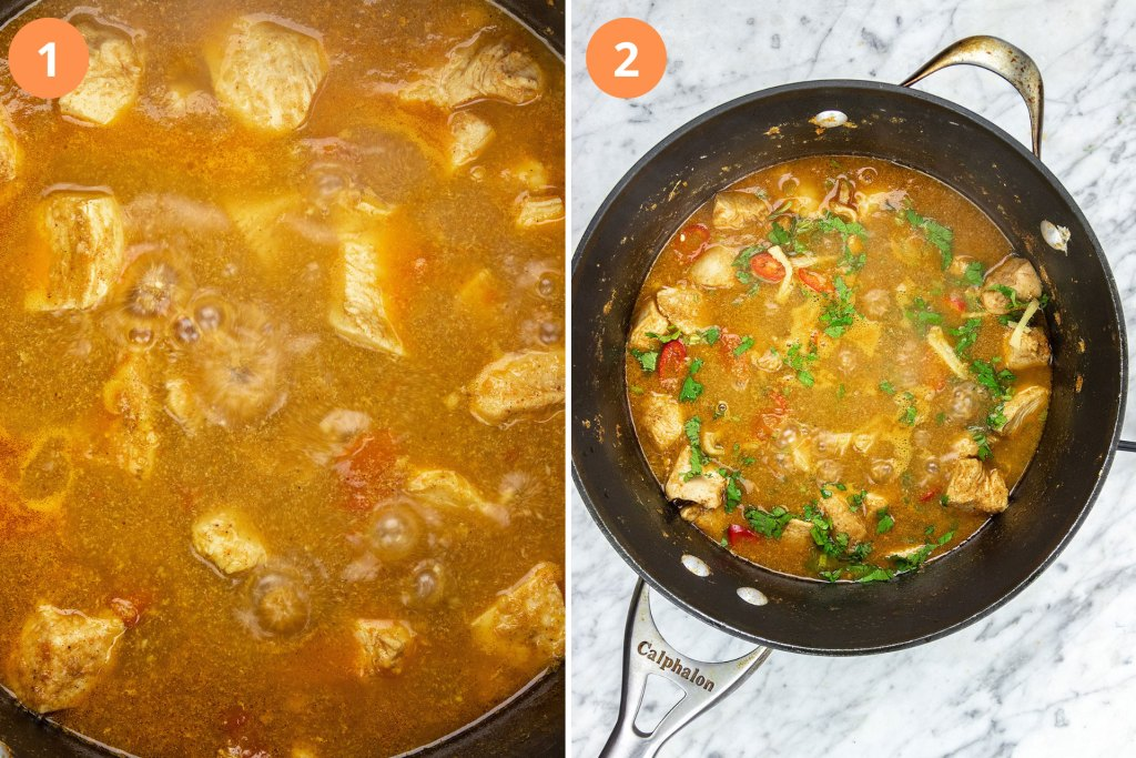 Chicken Curry is done when the oil separates