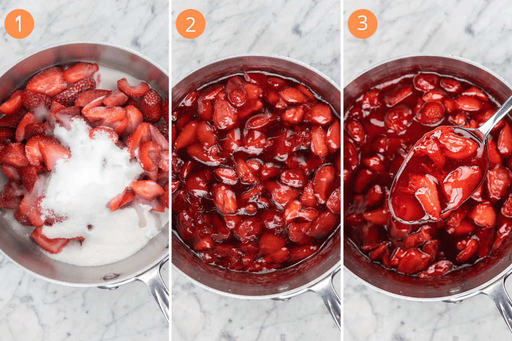 Simmer the strawberry sauce