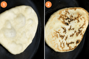 Cooking Naan on a hot skillet
