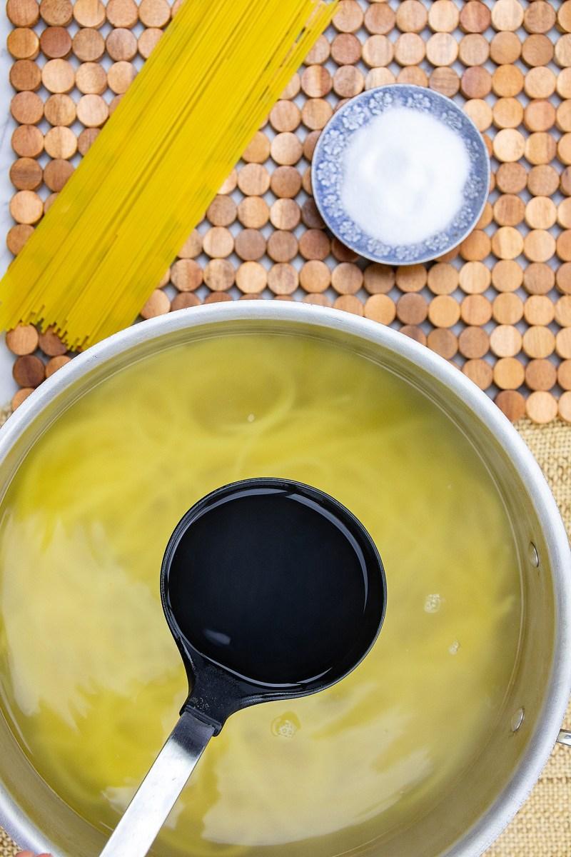 Add pasta water to thicken sauce