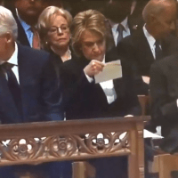 Hillary Clinton Receives Surprise Envelope At George H.W. Bush's Funeral...