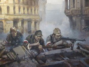 Painting of the Warsaw Uprising. The Polish people attacked the Nazi's, but were 'liberated' by the Russians after the battle.