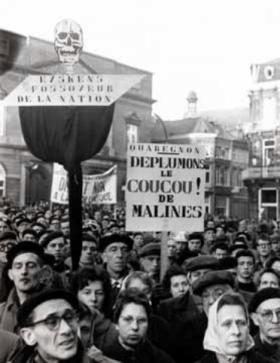 Les leaders catholiques, Eyskens et Cardinal Van Roey dans le collimateur des grévistes. Mons
