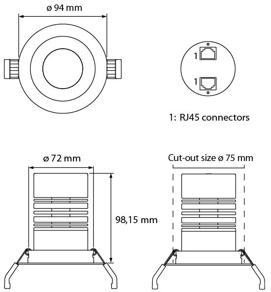 medidas spot led RGBW