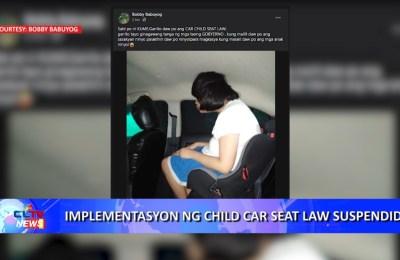 Implementasyon ng Child Car Seat Law suspendido
